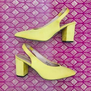 Chase + Chloe Canary Yellow Suede Look Heels